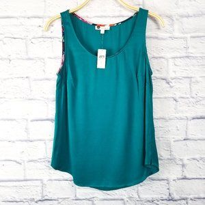 Anthropologie Floreat Teal Tank Top Size Small